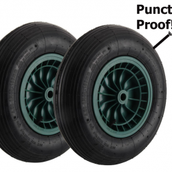 2x Puncture Proof Solid Wheelbarrow Wheels and Tyres 3.50-8  3.50×8/ 350×8
