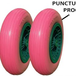 2x 14″ Pink Puncture Proof Solid Wheelbarrow Wheels Tyres 3.50-8 PU Sack Truck Colour