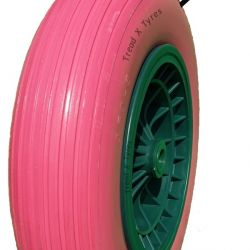 14″ Pink Puncture Proof Solid Wheelbarrow Wheel Tyre 3.50-8 PU Sack Truck Colours